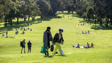 People out and about enjoying the Northcote Golf Course earlier this month.