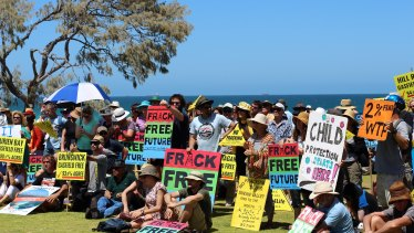 Hundreds of anti-gas fracking protesters rally across WA.