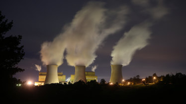 Yallourn Power Station in Victoria's Latrobe Valley. The power sector has been one of the few to show falling emissions as renewables increase their share.