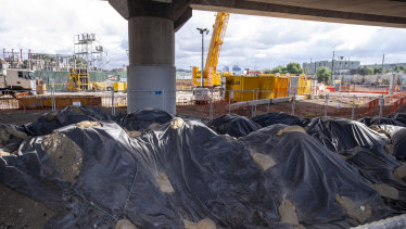 Contaminated soil from the West Gate Tunnel project dumped near CityLink off Footscray Road.