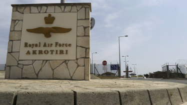 The gated entrance of the British Royal Air Force base in Akrotiri in the eastern Mediterranean island of Cyprus.
