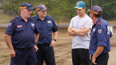 TIm Paine with firefighters last month.