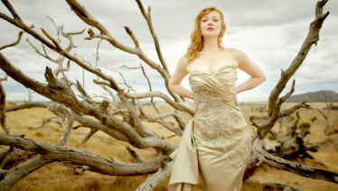 Sarah Snook wears one of 1950's designer Marion Boyce's dresses in The Dressmaker.