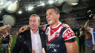 Getting the band back together ... Sonny Bill Williams and Trent Robinson after the 2013 grand final.