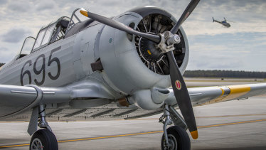 The CAC Wirraway is seen on Brisbane's new runway.