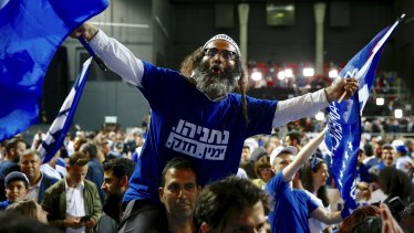 Likud Party supporters on Tuesday night in Tel Aviv.
