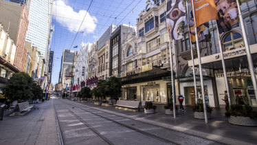 That empty feeling: Closed shops in the Melbourne CBD.