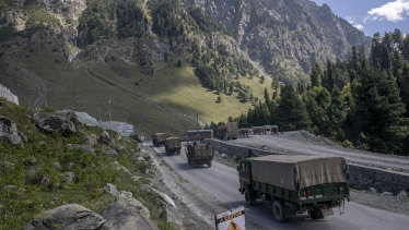 An Indian army convoy moves on the Srinagar-Ladakh where India has border disputes with China.