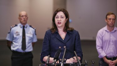 Premier Annastacia Palaszczuk updates the media on the COVID-19 pandemic at the Royal International Convention Centre on Sunday