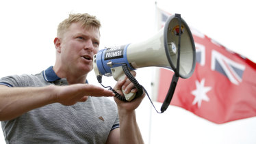 Far-right activist and convicted criminal Blair Cottrell during the St Kilda rally.