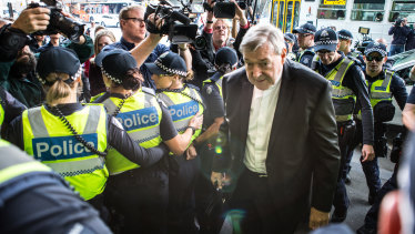 George Pell arrives at Melbourne Magistrates Court on Tuesday.