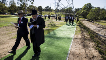 David Knoll of the Jewish Board of Deputies and Rabbi Yoram Ulman during the  consecration ceremony at Rookwood Cemetery.