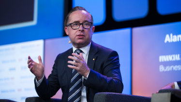Qantas chief Alan Joyce says the airlines is considering many 'out there' options.