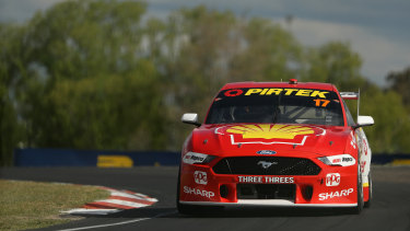 Track-record holder Scott McLaughlin pilots his Ford around Mount Panorama in practice on Thursday.