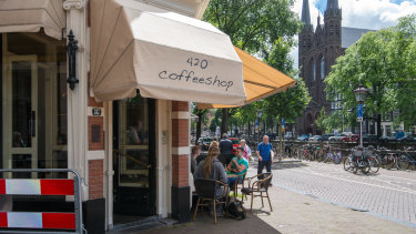 """A """"coffee shop"""" in Amsterdam where cannabis is sold."""