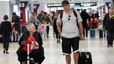 Cleared for take-off: Jarryd Hayne leaves Sydney on Saturday bound for Perth.