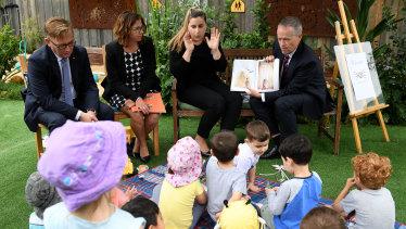 Opposition leader Bill Shorten at a Goodstart Early Learning centre on Friday.