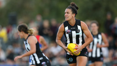 Cross code star: Ashleigh Brazill also plays with Collingwood in the AFLW.
