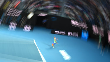 In the zone: Ashleigh Barty in action during her fourth-round match at Rod Laver Arena.