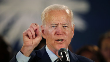 Democratic presidential candidate, former vice-president Joe Biden, speaks at a campaign event in Columbia, South Carolina.