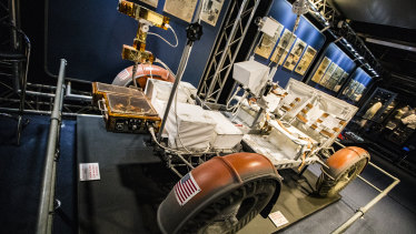 A full-scale replica of the Lunar Rover used on the last three Apollo moon missions.