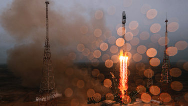 Russian-Iranian relations to hit new high: a Russian Soyuz-2.1a rocket carrying satellites launches.