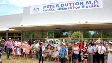 Supporters of a Tamil family snatched from the central Queensland town of Biloela hold a rally outside Peter Dutton's electorate office at Strathpine in Brisbane's north.