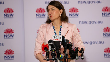 NSW Premier Gladys Berejiklian at her last daily press conference on Sunday.