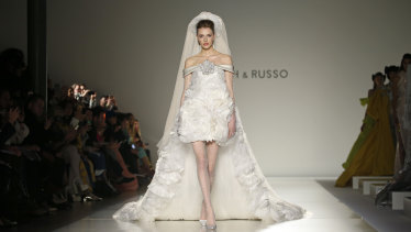 A model during the finale of the Ralph & Russo show at Paris Couture Week.