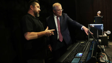 Scott Morrison chats to Dave Jackson at Creative Productions.