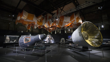 The innovation gallery featuring full-scale spacecraft replicas.