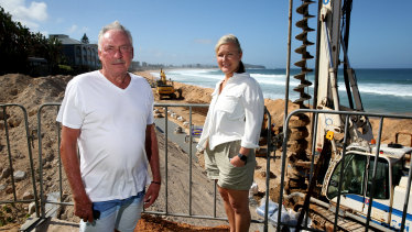 Residents Bob Orth and Jo Hoatson at the site.