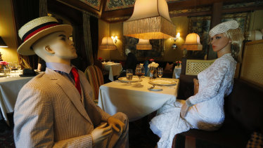 Mannequins provide cover for social distancing at the Inn at Little Washington as they prepare to reopen their restaurant.