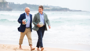 Interim Rugby Australia boss Rob Clarke (left) and New Zealand Rugby chief executive Mark Robinson at Manly on Friday.