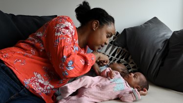 Lobaba Idris with her six-week-old twins Zayn and Layla Badri at their home in Roseville.