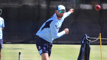 Nathan Lyon rolls the arm over ahead of NSW's Shield match at the SCG this week.