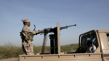 Saudi-backed forces patrol in Hodeida, Yemen, in February.