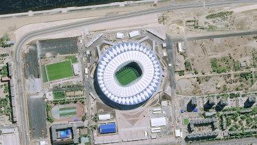 A satellite image shows the Volgograd Arena.