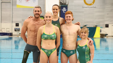Members of the Australian Paralympics swimming team, from left, Brenden Hall, Keira Stephens, Ellie Cole, Col Pearse and Tiffany Thomas Kane at their uniform launch for the Tokyo Games in May.