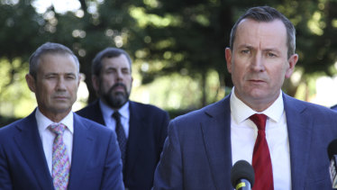 WA Premier Mark McGowan flanked by Health Minister Roger Cook and Chief Health Officer Andy Robertson.