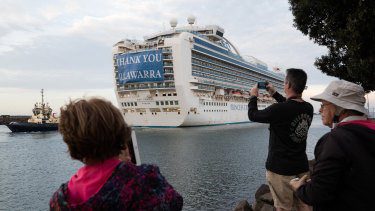 The Ruby Princess cruise ship, which was the source of hundreds of Australia's Coronavirus cases, departs Port Kembla, NSW, with its remaining crew.