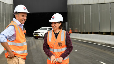 Roads Minister Andrew Constance and Premier Gladys Berejiklian inspect the M4 East tunnels in April.