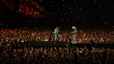 Brian May (right) and Adam Lambert of Queen performed to a crowd of 75,000 at Fire Fight on Sunday.