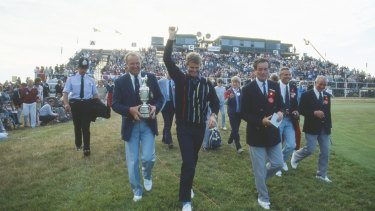 Sandy Lyle of Scotland celebrates his victory in the 114th Open Championship at Royal St George's in Sandwich, Kent.