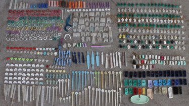 Plastic waste Colleen Hughson collected from Warrnambool's beaches.