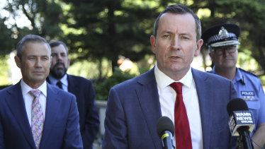 WA Premier Mark McGowan at a media conference with Health Minister Roger Cook and Police Commissioner Chris Dawson.