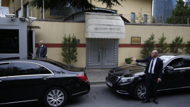 Security guards stand outside the Saudi Arabia's consulate in Istanbul, on Tuesday.