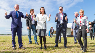 (Front, from left) Deputy Prime Minister Michael McCormack, Queensland Premier Annastacia Palaszczuk, Brisbane Airport parallel runway project director Paul Coughlan and Minister for State Development, Tourism and Innovation Kate Jones celebrate the first flight.