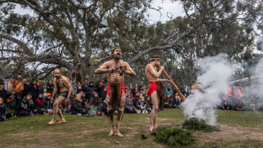 Protesters at the Djab Wurrung Embassy Camp set up 14 months ago to block the removal of the trees to make way for the expansion of the Western Highway.