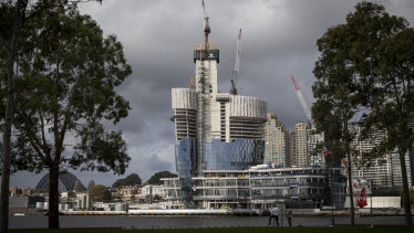 Packer's Crown Casino at Barangaroo is under construction.
